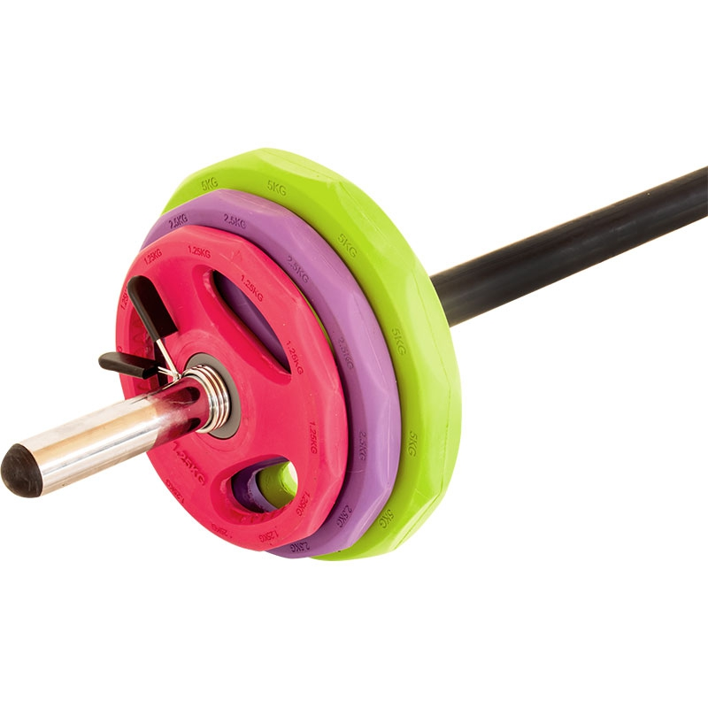 Megafitness Shop Aerobic Langhantelset Gummi-Gripper - Bunt 18,5 kg A-LH-Set-RGB