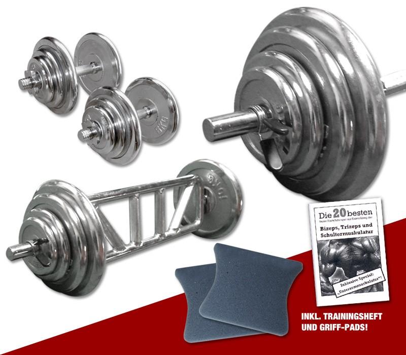 Megafitness Shop Chrom - Mega Bizeps-Trizeps-Set - 78 kg C-MBTS-77