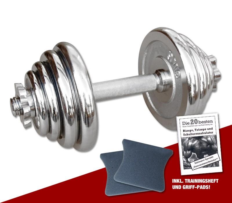 Megafitness Shop Chrom-Kurzhantel 15 kg - 13-fach verstellbar C-KHS-15-1