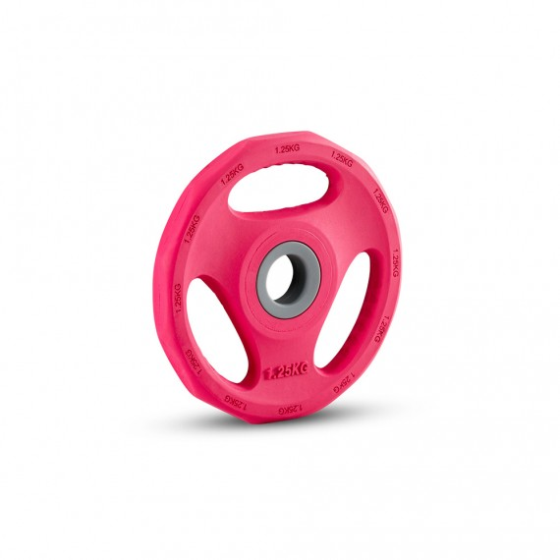 Hantelscheibe Gummi Gripper - 30 mm - pink - 1,25 kg