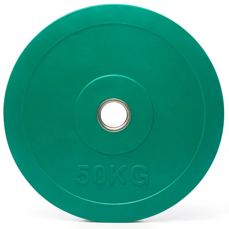 Hantelscheiben Gummi - 50 mm - grün - 50 kg