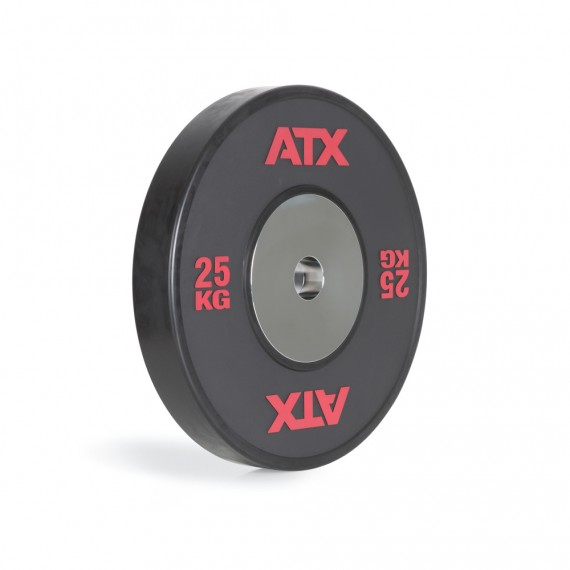 ATX® HQ-Rubber Bumper Plate - schwarz mit roter Beschriftung - 25 kg