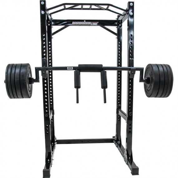 ATX Safety Squat Bar - Anwendungsbeispiel am Rack in der Frontansicht