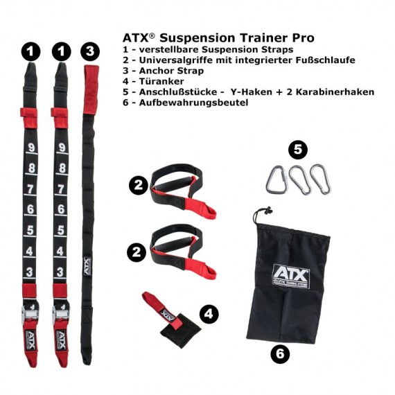 ATX Suspension Trainer - Set PRO - Schlingentrainer - Übersicht aller Einzelteile