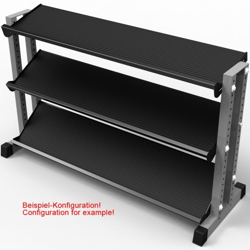 Modulares Rack-System PRO 600 - Beispiel-Konfiguration mit drei schrägen Ablagen - Schrägansicht