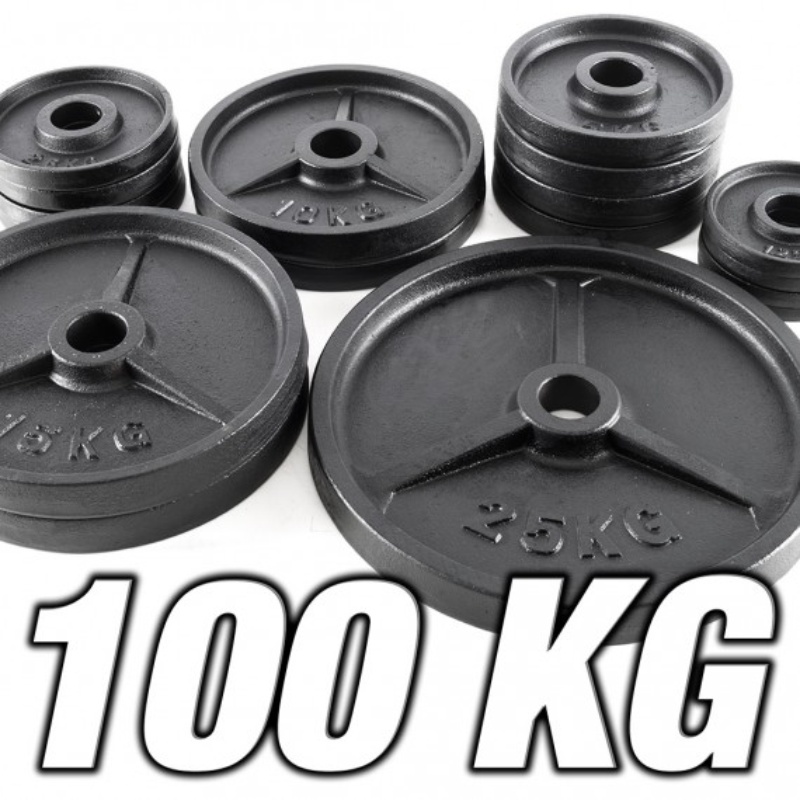 Vorteilspaket mit Guss-Hantelscheiben - 50 mm Aufnahme - 100 kg Gesamtgewicht