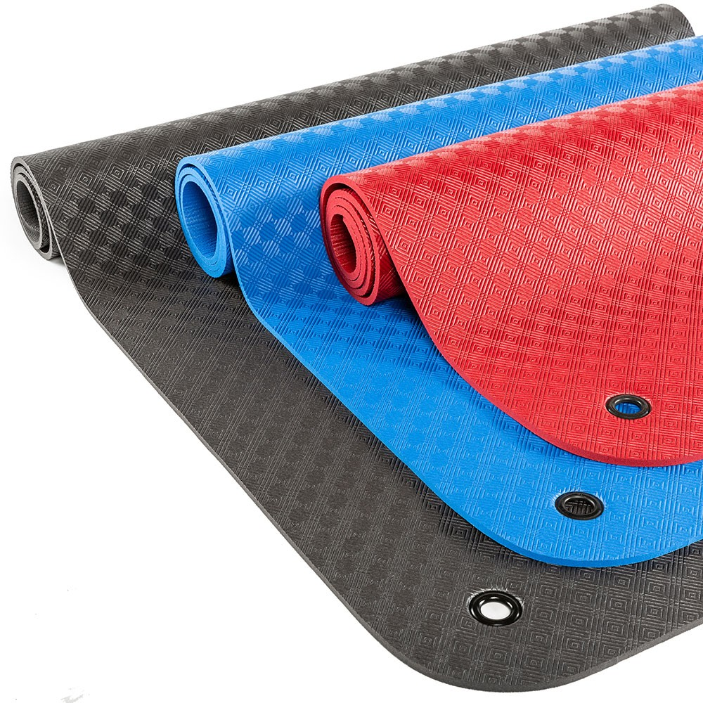 ProfiGymMat 180 mit /Ösen Gymnastikmatte // Yogamatte blau 1.0 cm