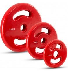30 mm Vinyl-Disk Hantelscheiben mit 2 Eingriffen - rot - Gewichtsgrößen von 0,5 kg bis 10 kg