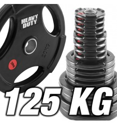 Hantelscheibenset 125 kg - Heavy Duty Rubber - 50 mm