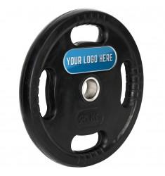 4-Grip Hantelscheiben - Gummi - 50 mm - mit Ihrem individuellen Logo - 25 kg