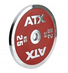 ATX® - Powerlifting - Hantelscheibe - rot - 25 kg - halbschräge Ansicht