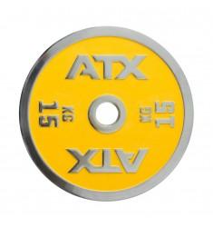 ATX® Powerlifting Hantelscheibe aus Guss mit 15 kg in gelb
