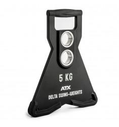 ATX® Delta Swing-Weights 5,0 KG - PU - dynamisch schwingende Hantelscheiben mit 2 Bohrungen