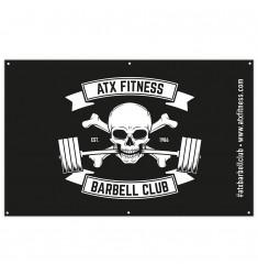 ATX® Stoffbanner - weißes Barbell Club Logo auf uni schwarzem Untergrund - 200 x 125 cm (Standard)