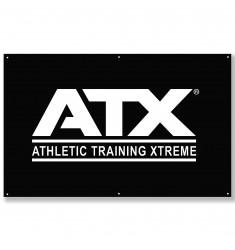 ATX® Stoffbanner - weißes ATX®-Logo auf uni schwarzem Untergrund - 200 x 125 cm