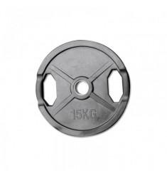 Hantelscheibe Gummi-Gripper - 50 mm - schwarz - 15,0 kg