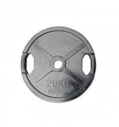 Hantelscheibe Gummi-Gripper - 50 mm - schwarz - 20,0 kg