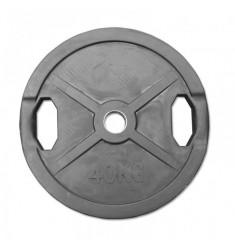 Hantelscheibe Gummi-Gripper - 50 mm - schwarz - 40,0 kg