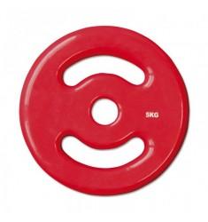 30 mm Vinyl-Disk Hantelscheibe - rot - 5,0 kg
