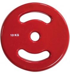 30 mm Vinyl-Disk Hantelscheibe - rot - 10,0 kg