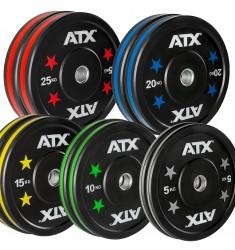Vorteilspaket! 150 KG ATX® Color Stripes Bumper Plates / Hantelscheiben in fester Sortierung