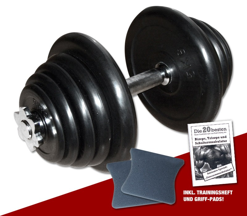 Megafitness Shop Gummi-Kurzhantel 25 kg - 23-fach verstellbar! R-KHS-25-1