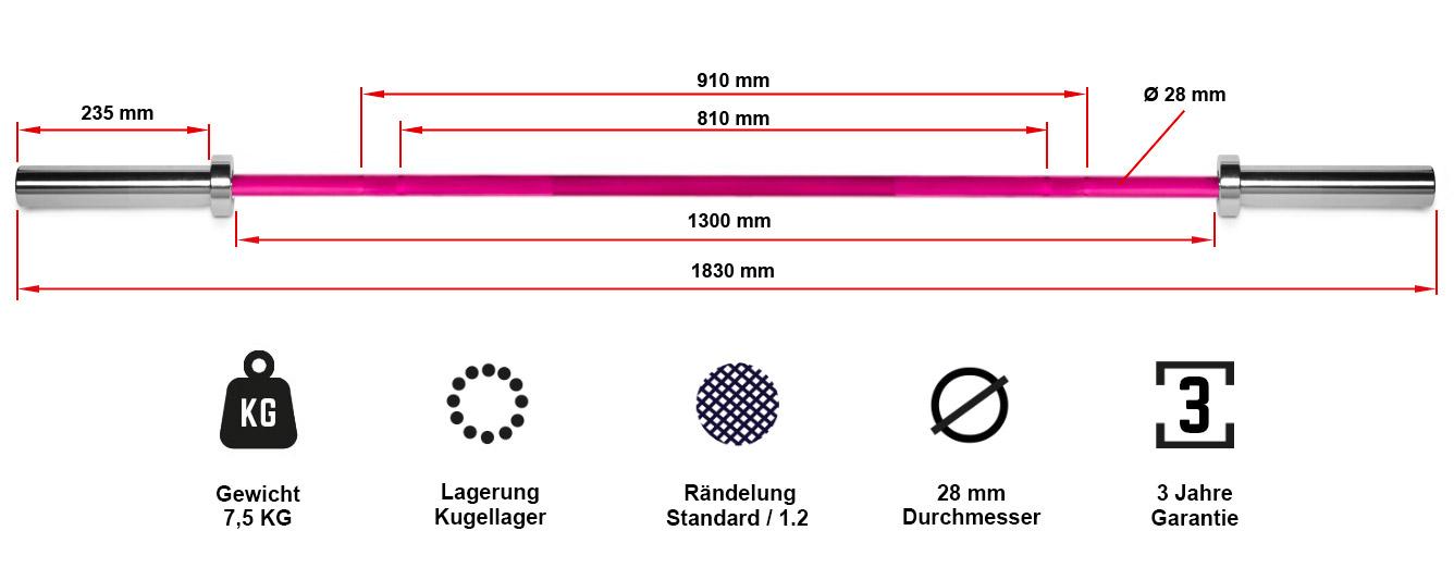 Technik Bar die Technikhantel aus Aluminium mit 7,5 kg
