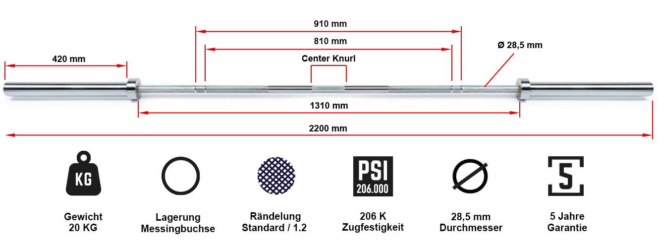 ATX® Power Bar Chrom MK 700 kg Federstahl