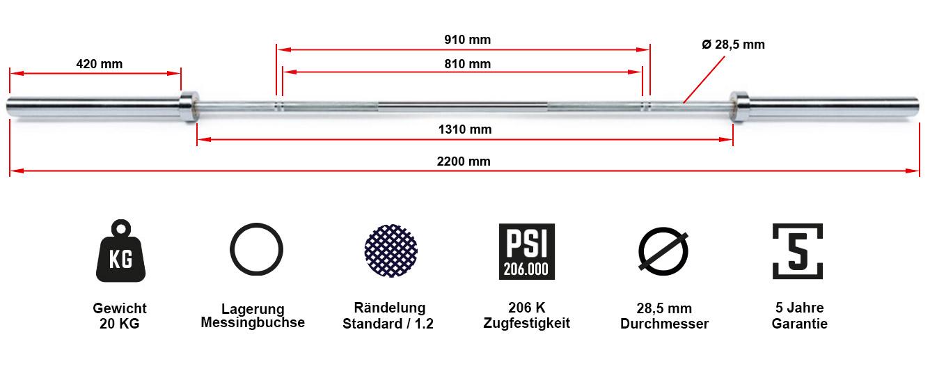 ATX® Power Bar 700kg Federstahl Chrom