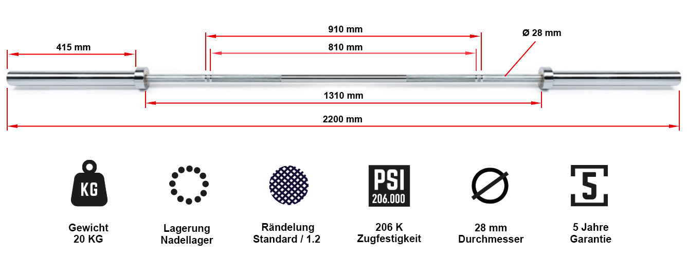 ATX® Power Bearing Bar 220 cm 700 kg Federstahl
