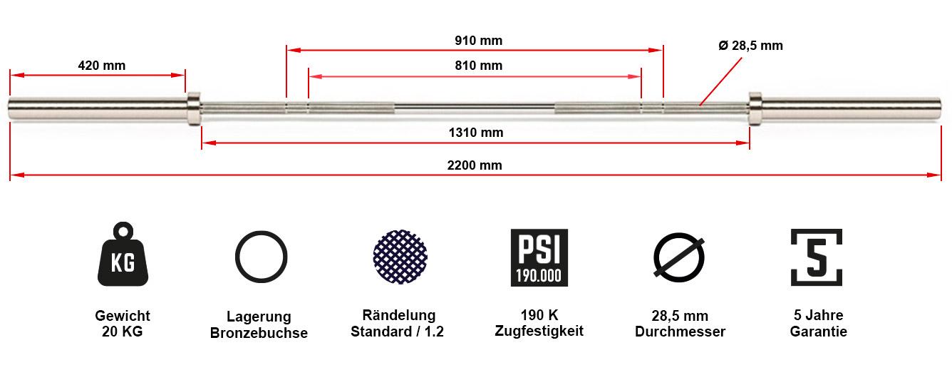 ATX® V4A Power Bar Hantelstange